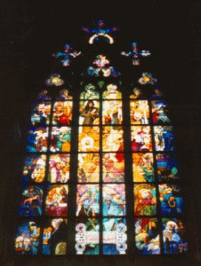 Stained glass by Mucha in north facade