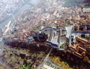 Prague castle view from air